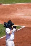 Operador cinematográfico no campo de basebol Imagem de Stock Royalty Free