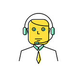 Operador com linha ilustração dos auriculares do vetor do ícone Fotografia de Stock