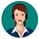 Operador da chamada da mulher com fones de ouvido foto de stock royalty free