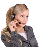 Operador da fêmea da sustentação do cliente empresa foto de stock royalty free