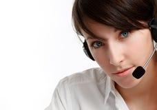 Operador da mulher com auriculares Fotografia de Stock Royalty Free