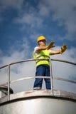 Operador da produção de petróleo e gás Fotografia de Stock