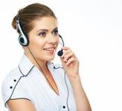 Operador de centro de atención telefónica de la mujer Imagenes de archivo