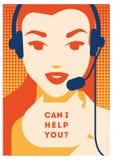 Operador de centro de atendimento com cartaz dos auriculares Serviços do cliente e comunicação, apoio ao cliente, auxílio do tele ilustração royalty free