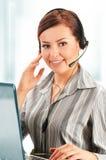 Operador de centro de atención telefónica. Atención al cliente. Puesto de informaciones Fotos de archivo libres de regalías