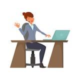 Operador de centro de atención telefónica de la historieta Una hembra alegre con auriculares inalámbricos se está sentando en el  libre illustration