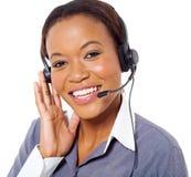 Operador de centro de atención telefónica africano Imágenes de archivo libres de regalías