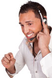 Operador de centro de llamada o recepcionista de sexo masculino Fotografía de archivo