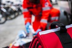 Operador de la emergencia en la acción Fotos de archivo libres de regalías