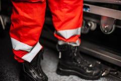 Operador de la emergencia en la acción Fotografía de archivo libre de regalías