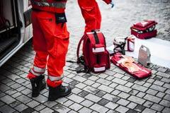 Operador de la emergencia en la acción Fotografía de archivo