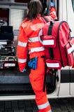 Operador de la emergencia en la acción Imágenes de archivo libres de regalías