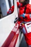 Operador de la emergencia en la acción Fotos de archivo