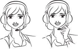 Operador de la mujer en equipo de ayuda stock de ilustración