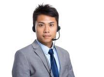 Operador de los servicios de atención al cliente Imagen de archivo