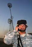 Operador de radio con las antenas