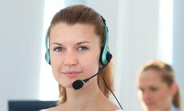Operador de sexo femenino de la atención al cliente Imagen de archivo libre de regalías