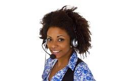 Operador de sexo femenino de la atención al cliente Fotos de archivo libres de regalías