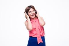 Operador de sexo femenino de risa del servicio de atención al cliente Imagen de archivo libre de regalías