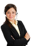 Operador de sexo femenino del centro de atención telefónica Imágenes de archivo libres de regalías