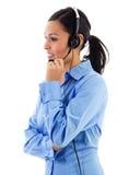 Operador de sexo femenino del centro de atención telefónica Foto de archivo libre de regalías