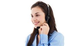 Operador de sexo femenino del centro de atención telefónica Fotografía de archivo libre de regalías