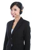 Operador de sexo femenino del servicio de atención al cliente Foto de archivo