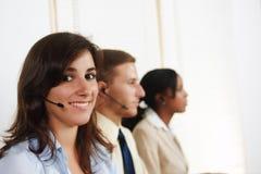 Operador de telefone da mulher Fotos de Stock Royalty Free
