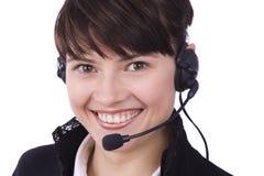 Operador del centro de atención telefónica. Mujer con el receptor de cabeza fotos de archivo libres de regalías