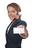 Operador del centro de atención telefónica con el espacio en blanco Fotos de archivo