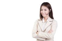 Operador del servicio de atención al cliente de la mujer del centro de atención telefónica Foto de archivo libre de regalías