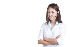 Operador del servicio de atención al cliente de la mujer del centro de atención telefónica Imagen de archivo libre de regalías
