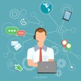 Operador del soporte técnico del hombre del centro de atención telefónica ilustración del vector