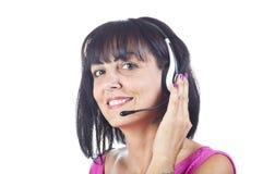 Operador del teléfono de la ayuda de la mujer Imágenes de archivo libres de regalías