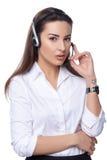 Operador del teléfono de la ayuda en receptor de cabeza Fotos de archivo