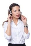 Operador del teléfono de la ayuda en receptor de cabeza Fotografía de archivo libre de regalías