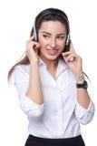 Operador del teléfono de la ayuda en receptor de cabeza Fotos de archivo libres de regalías