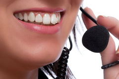 Operador del teléfono directo con el receptor de cabeza Imagen de archivo libre de regalías
