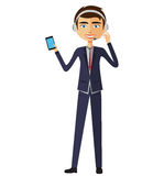 Operador do homem do centro de atendimento do serviço ao cliente no dever ilustração royalty free