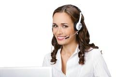 Operador do telefone da sustentação, no branco fotografia de stock