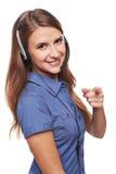 Operador do telefone da sustentação nos auriculares imagem de stock royalty free