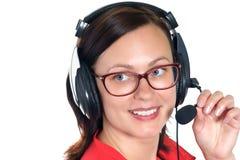 Operador do telefone da sustentação nos auriculares imagem de stock