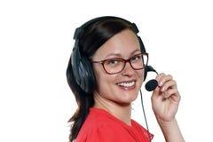 Operador do telefone da sustentação nos auriculares foto de stock