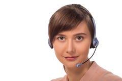 Operador do telefone da sustentação nos auriculares fotos de stock
