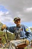 Operador do trator em uma reunião do ` s do thrasher do vapor Foto de Stock Royalty Free