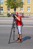 Operador en ciudad a la calle Imagen de archivo libre de regalías