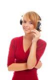 Operador en línea cómodo en auriculares Fotos de archivo libres de regalías