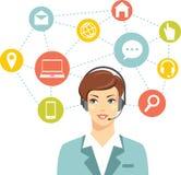 Operador en línea de la mujer de la atención al cliente del centro de atención telefónica Imágenes de archivo libres de regalías