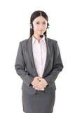 Operador fêmea alegre do telefone do apoio ao cliente Fotografia de Stock Royalty Free