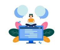 Operador fêmea da linha de apoio ao cliente, apoio em linha ilustração do vetor